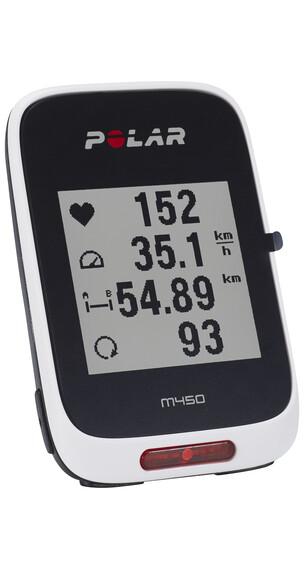 Polar M450 GPS Fahrradcomputer + H7 Herzfrequenz-Sensor + Zubehör schwarz/weiß